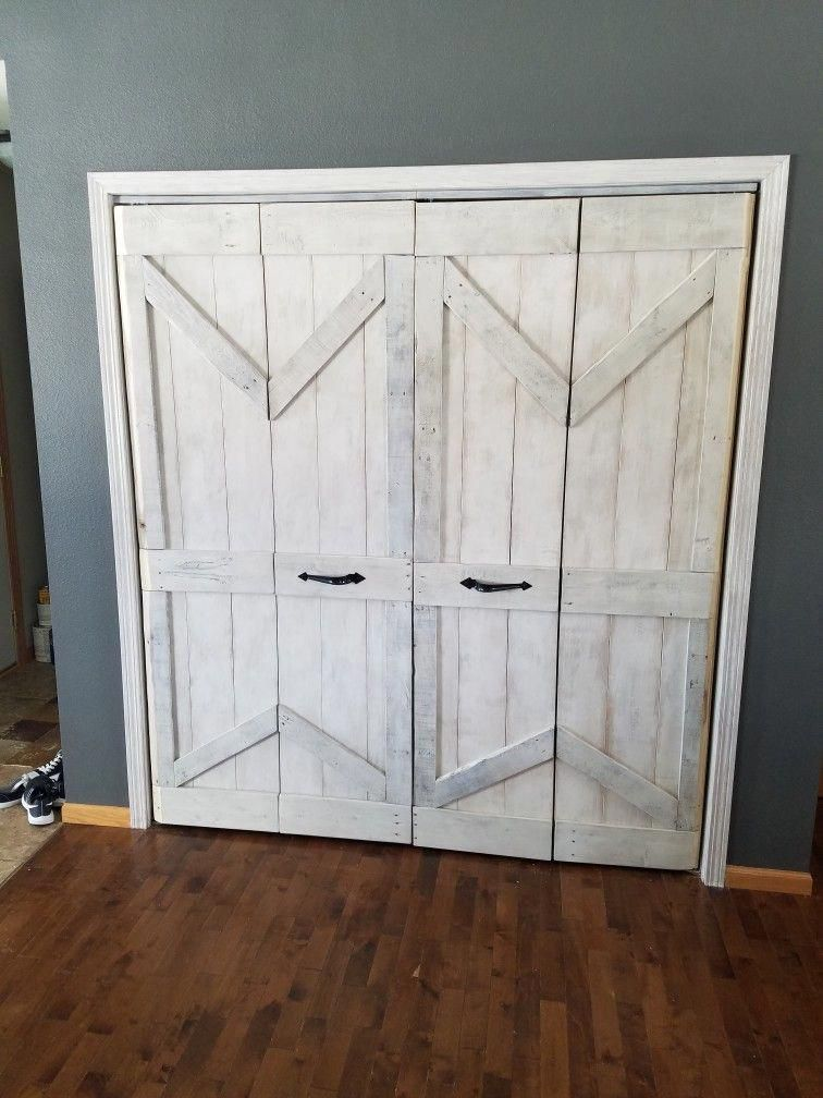 hot sale online b4911 c82c8 Bifold closet doors into barn doors | Farmhouse living in ...