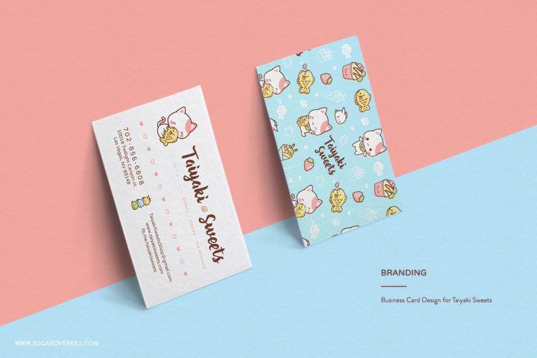 Japanese Inspired Character Logo And Branding Taiyaki Sweets Kawaii Neko Cute Cat Eating Ta Cute Business Cards Cool Business Cards Business Card Inspiration