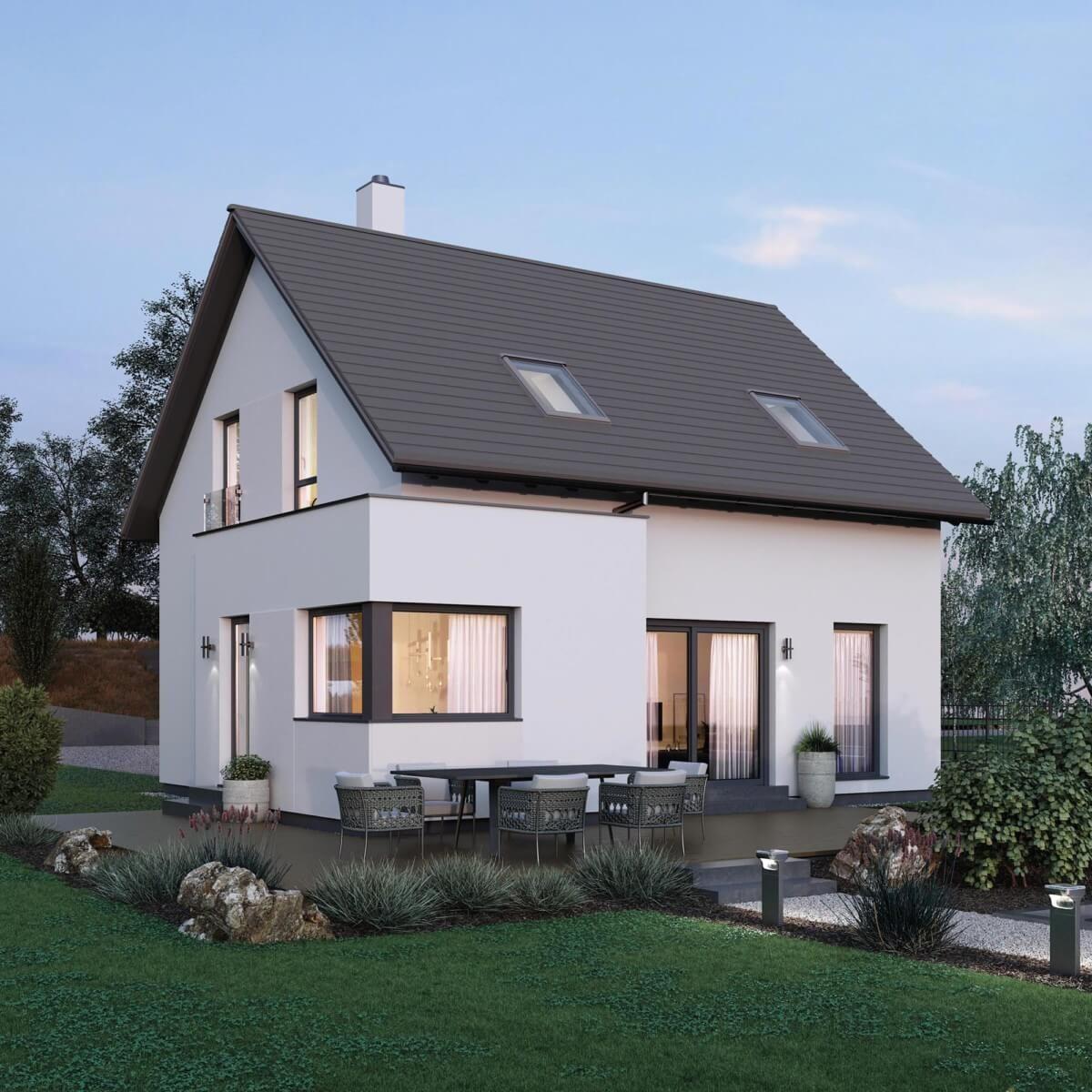 Kleines Einfamilienhaus Neubau modern mit Satteldach