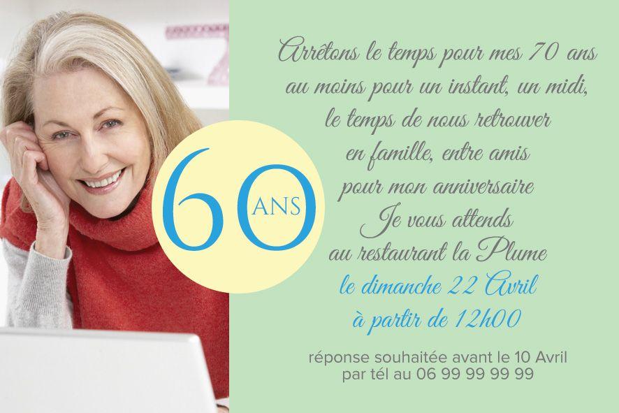 invitation anniversaire 60 ans rond