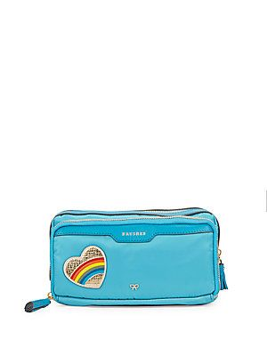 Anya Hindmarch Leather-Trim Make-Up Pouch - Bright Blue - Size No Size