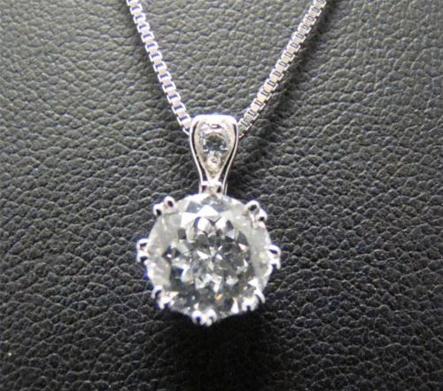 Solid 925 Sterling Silver CZ Cubic Zirconia Circle Pendant Necklace Charm Chain