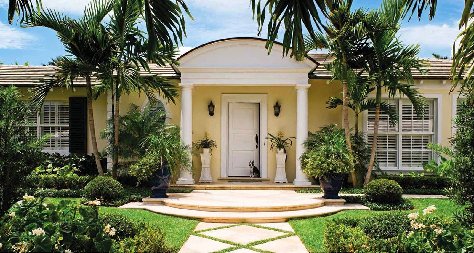 florida landscape front entry inside a palm beach bermuda style bungalow the