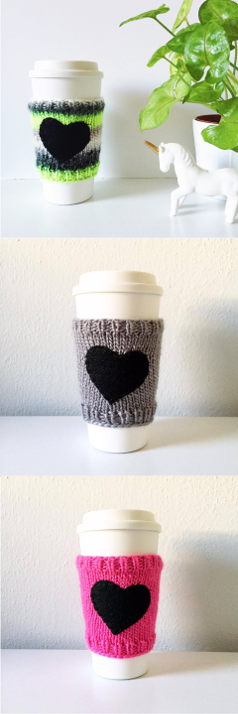knit heart coffee sleeves, knitted coffee cozy with heart, cute, kawaii, coffee addict, coffee lover, teacher gift, stocking stuffer, handmade, nickichicki, hot pink, grey, neon green, gift idea, small gift