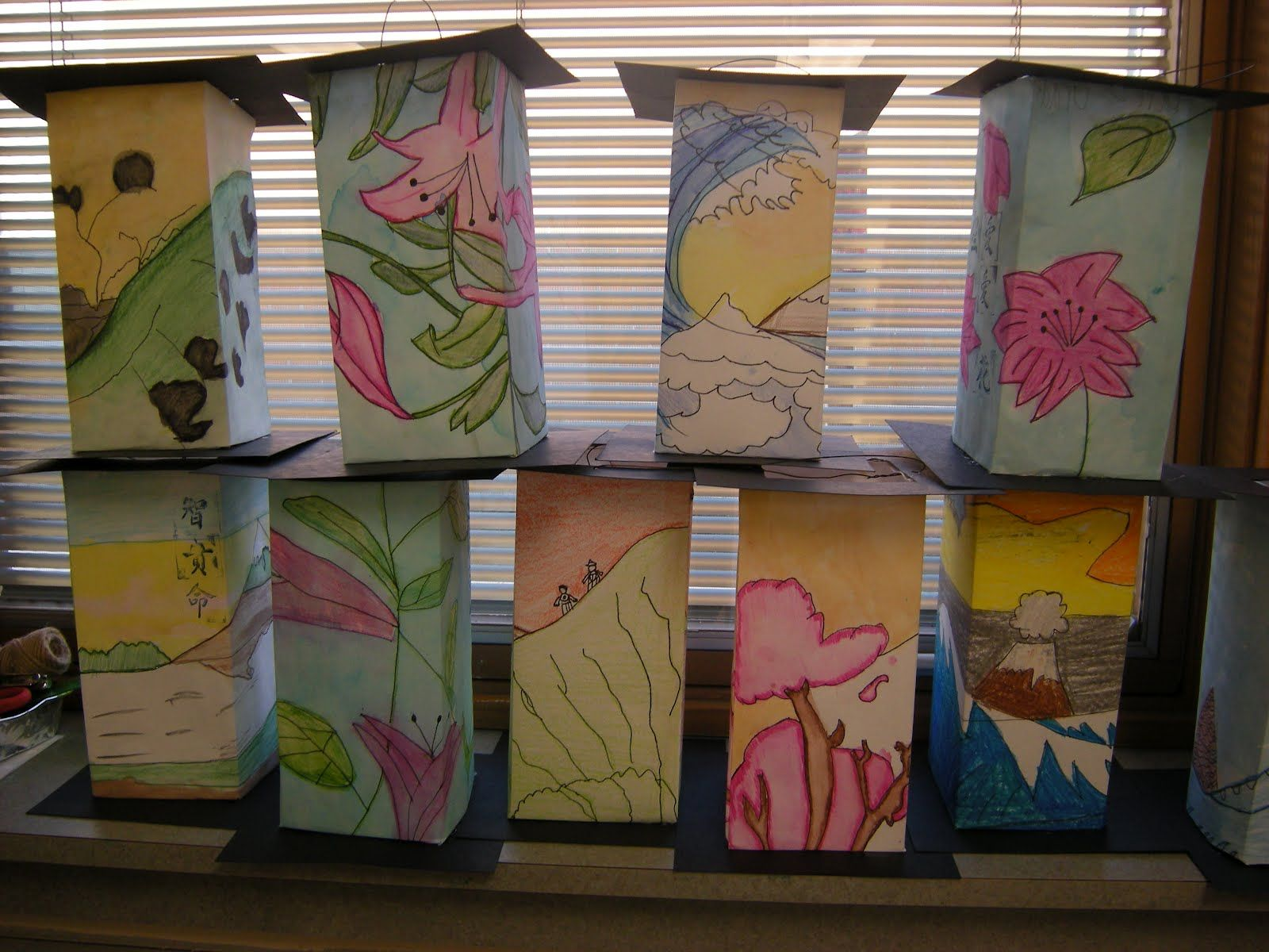 Asian Lanterns Lesson with Template | Art Lessons Misc ...