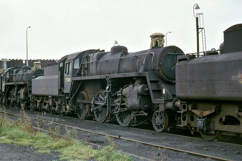 BR Standard Class 3 2-6-0 No 77000, 30th Oct 1966 at Normanton.