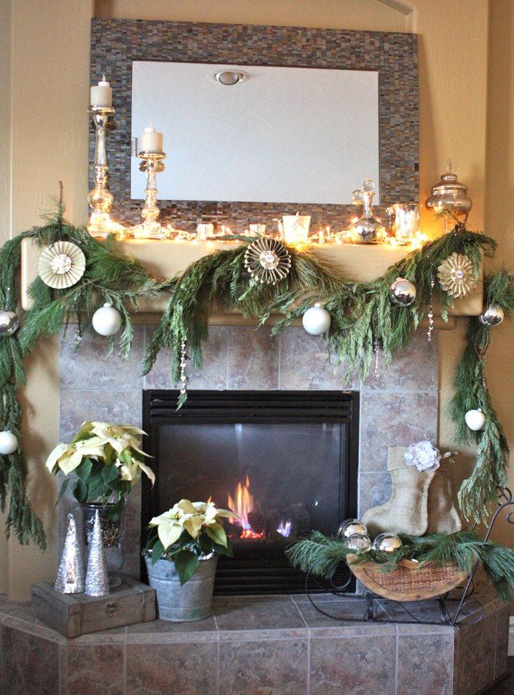 rustic christmas Rustic Christmas fireplace mantel Christmas