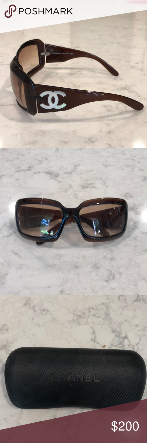 1e50f0dec73 Chanel sunglasses Perfect condition! Chanel tortoise sunglasses with mother  of pearl logo on sides. Includes case. CHANEL Accessories Sunglasses