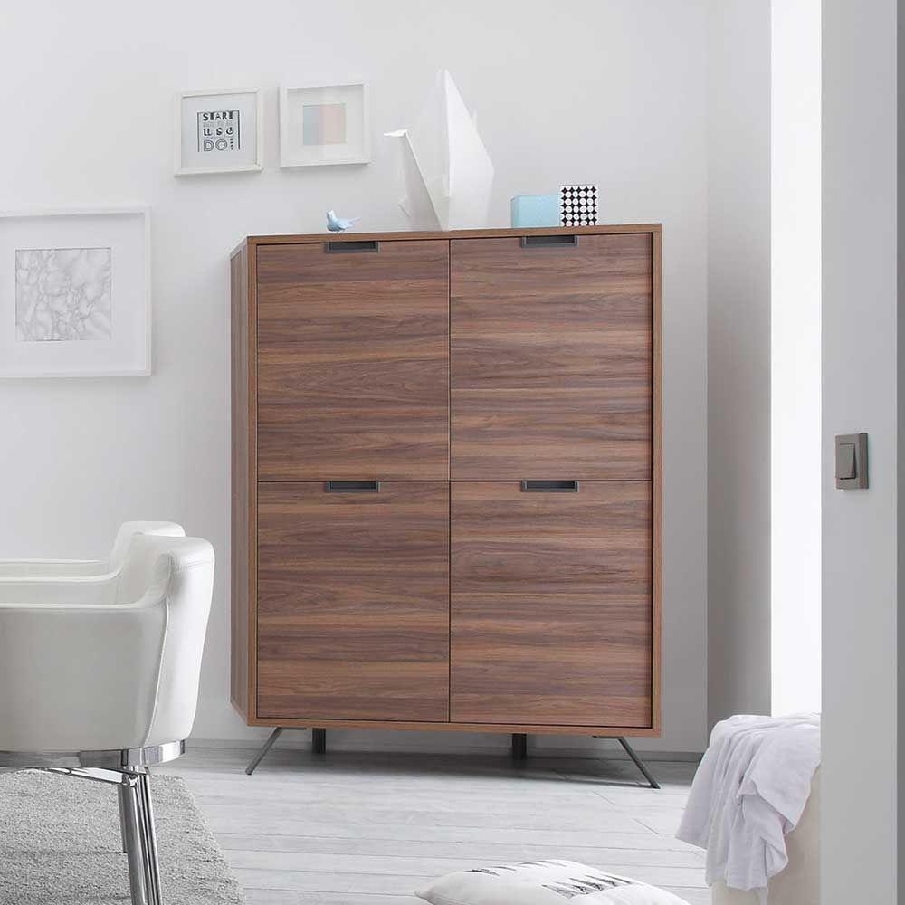 Wohnzimmer Highboard in Nussbaum Retro Design Jetzt bestellen ... | {Esszimmerschrank design 16}