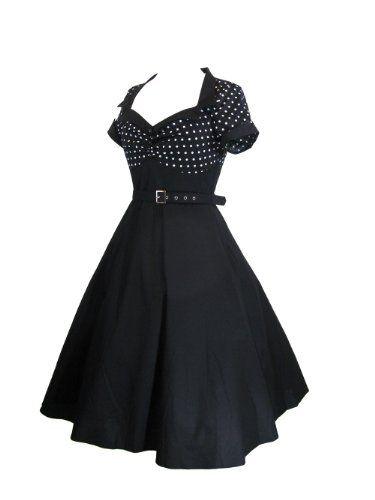 eab31fc10b484 Skelapparel 60's Vintage Retro Design Polka Dot Flare Party Dress (8) *  Click on the image for additional details.