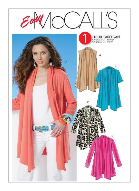 Misses' One Hour Shawl Collar Cardigans - Mccall's Sewing Pattern M6084 Misses' One Hour Shawl Collar Cardigans - McCall's Sewing Pattern M6084 Plus Size h&m plus size canada