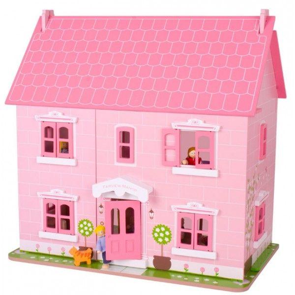 Dit prachtige roze poppenhuis van BigJigs heeft drie verdiepingen en is 59cm hoog. De deuren en ramen kunnen open en het dak is afneembaar.De bijbehorende meubeltjes en poppetjes maken het poppenhuis compleet.Leeftijd vanaf 3 jaar