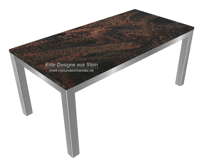 Granit Tischplatte Aurora Finnland Mit Edelstahlgestell Natursteinfliesen Natursteinplatten Granit