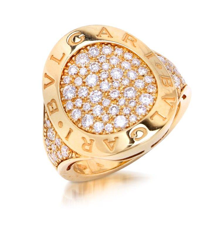 Bulgari 18k white gold ring with diamonds