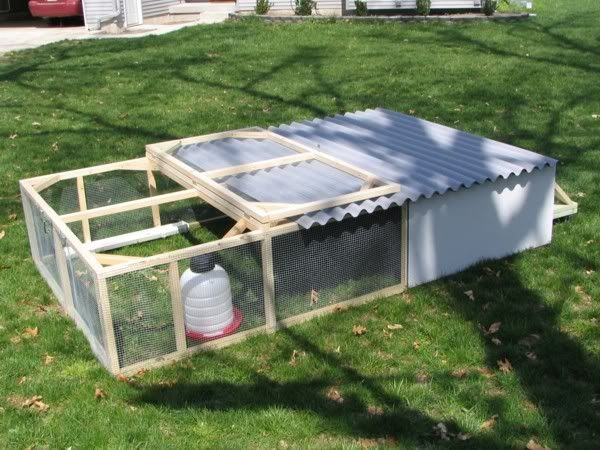 Building a broiler pen chicken tractors coops and gardens for Diy movable chicken coop