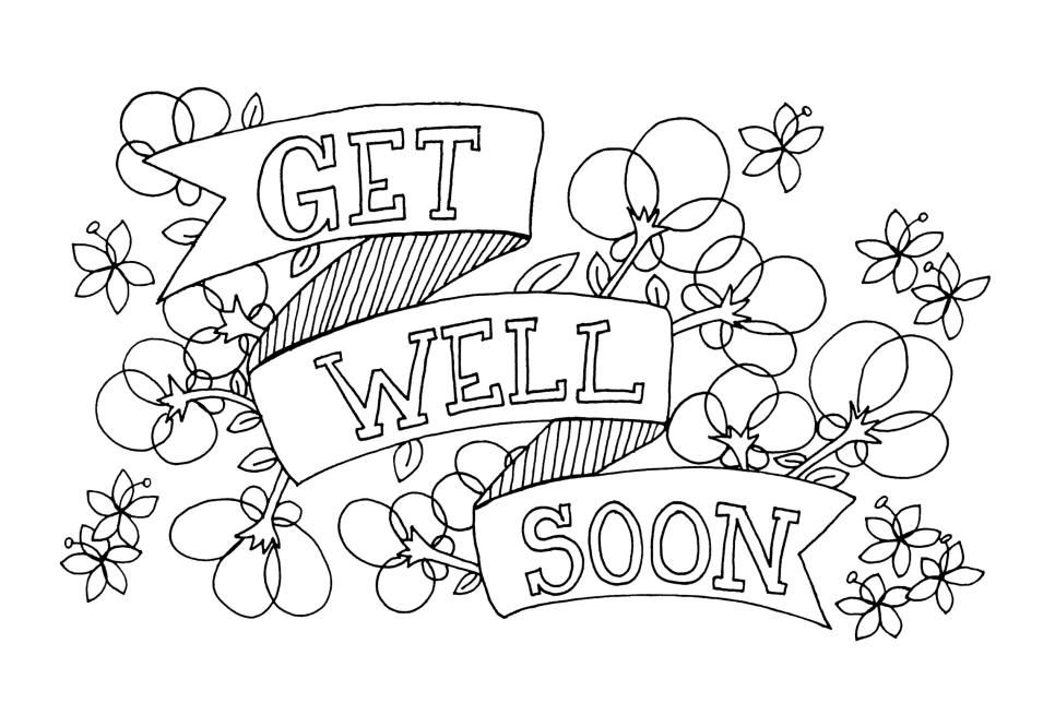 Get Well Soon Coloring Page Greeting Card Free Printable