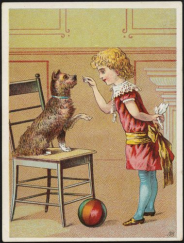 A girl playing with a dog on a chair who is lifting its paw, with a ball in the foreground. [front] by Boston Public Library, via Flickr
