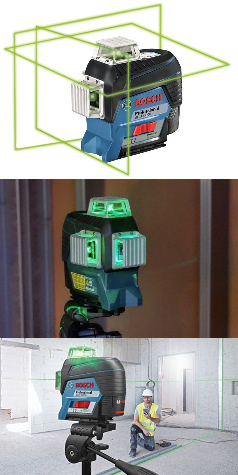 Laser Measuring Tools 126396 Bosch Gll3 330cg 360 Degree 3 Plane Leveling Green Laser With Free Extra Battery Buy It Now Bosch Green Laser Measuring Tools