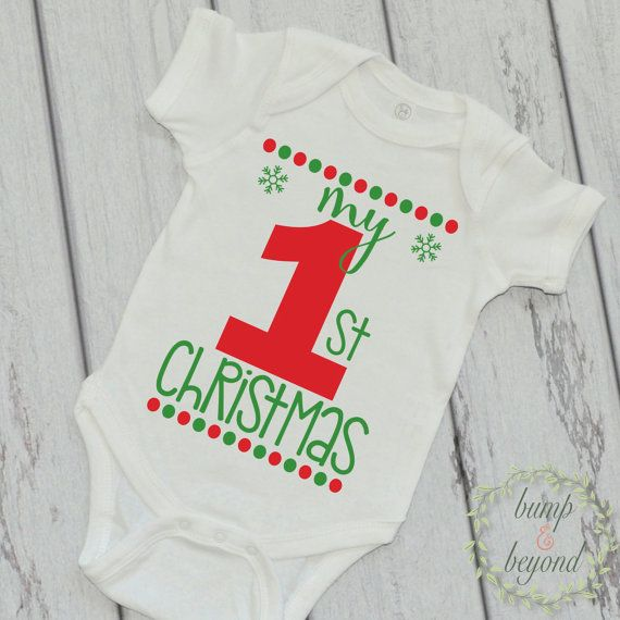 0804bcfd8aef My First Christmas, Baby's First Christmas Outfit Baby's 1st Christmas One  Piece Infant Clothing for Boy or Girl by BumpAndBeyondDesigns
