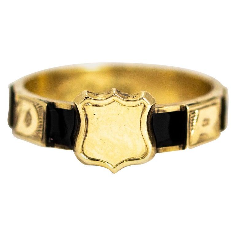 1stdibs 10k Gold 10 Karat Enamel Regard Ring Victorian Black Enamel Antique Rings Victorian Victorian Rings