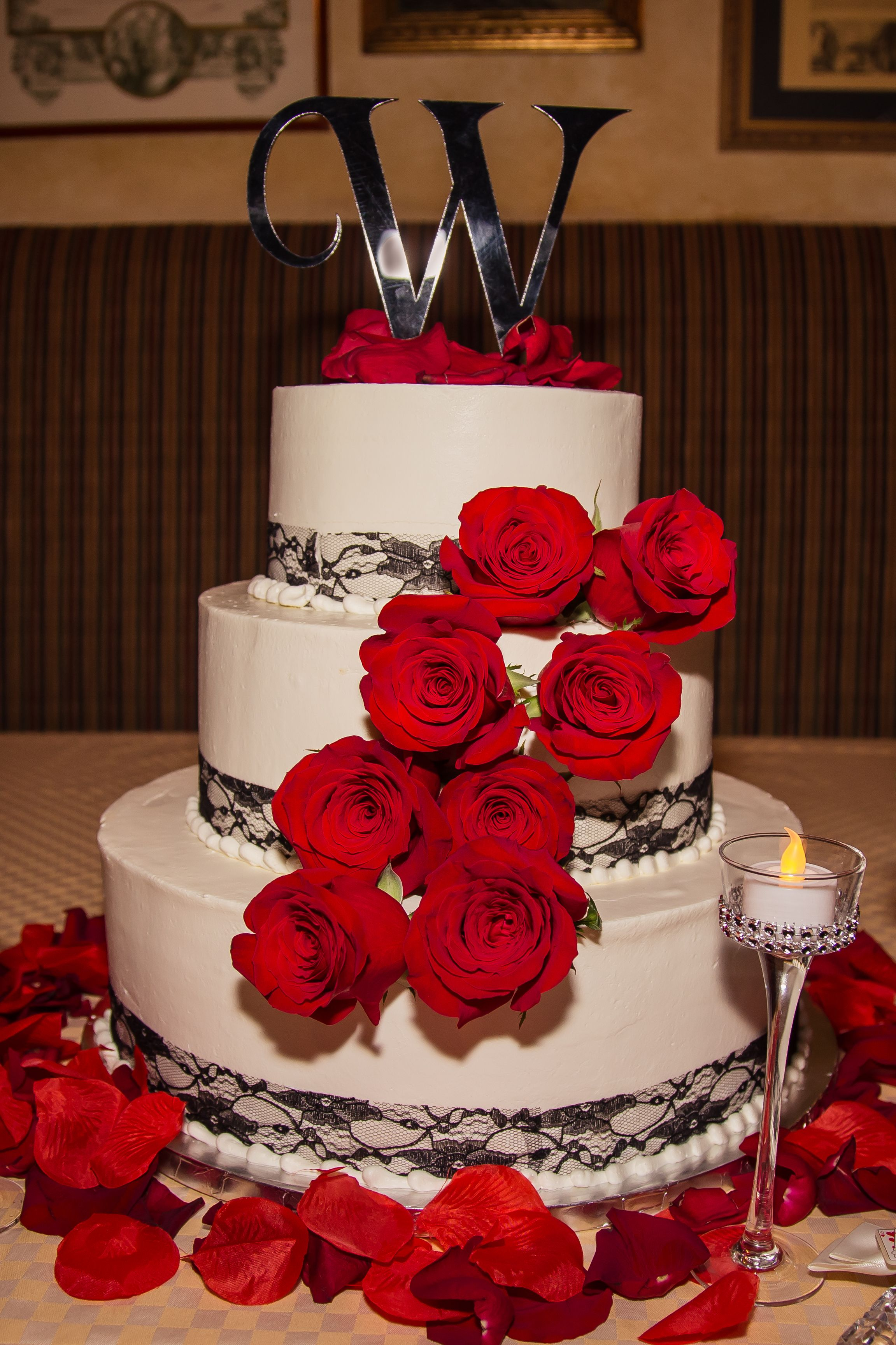 Our Red And Black Wedding Cake With Red Roses And Black