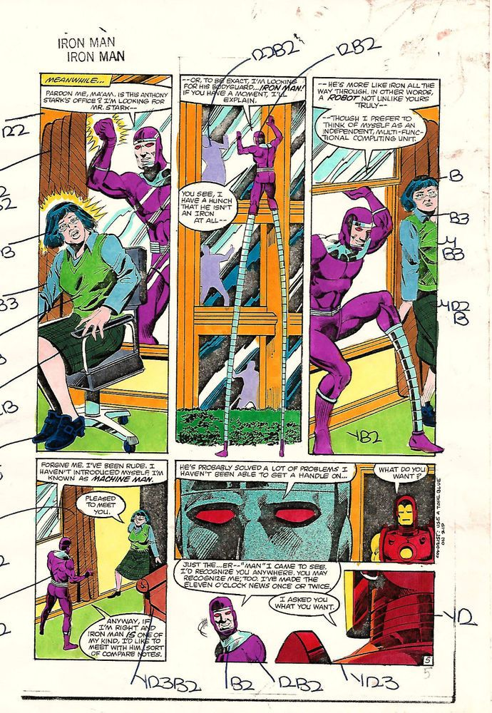 Original 1983 Iron Man 168 page 5 Marvel color guide comic ...