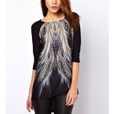 Black Peacock Feather Print High Low T-shirt