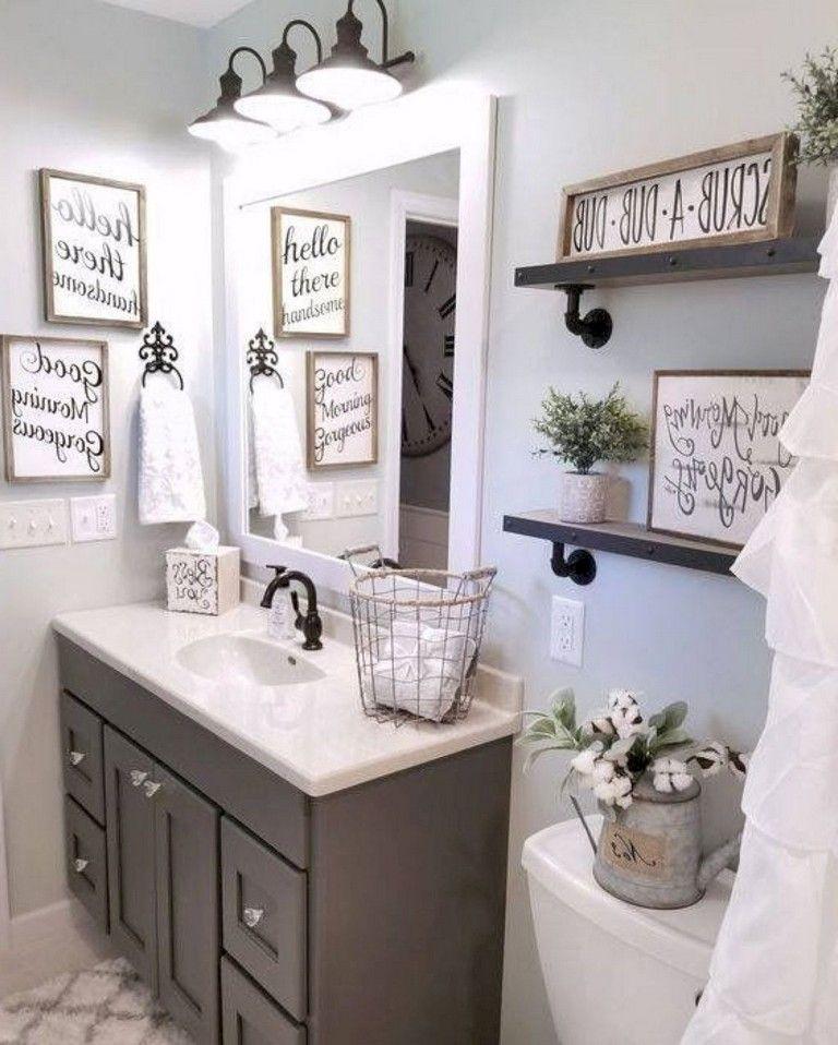 55 amazing farmhouse bathroom decor ideas bathroom on bathroom wall decor id=66367