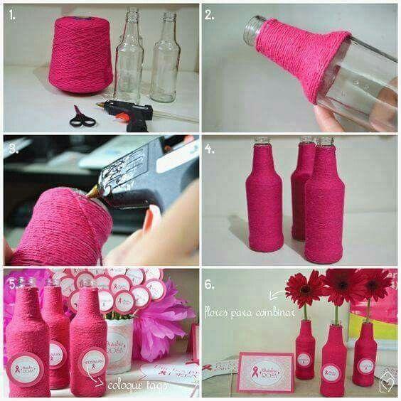 Botella con lana manualidades con reciclaje pinterest - Manualidades en lana ...