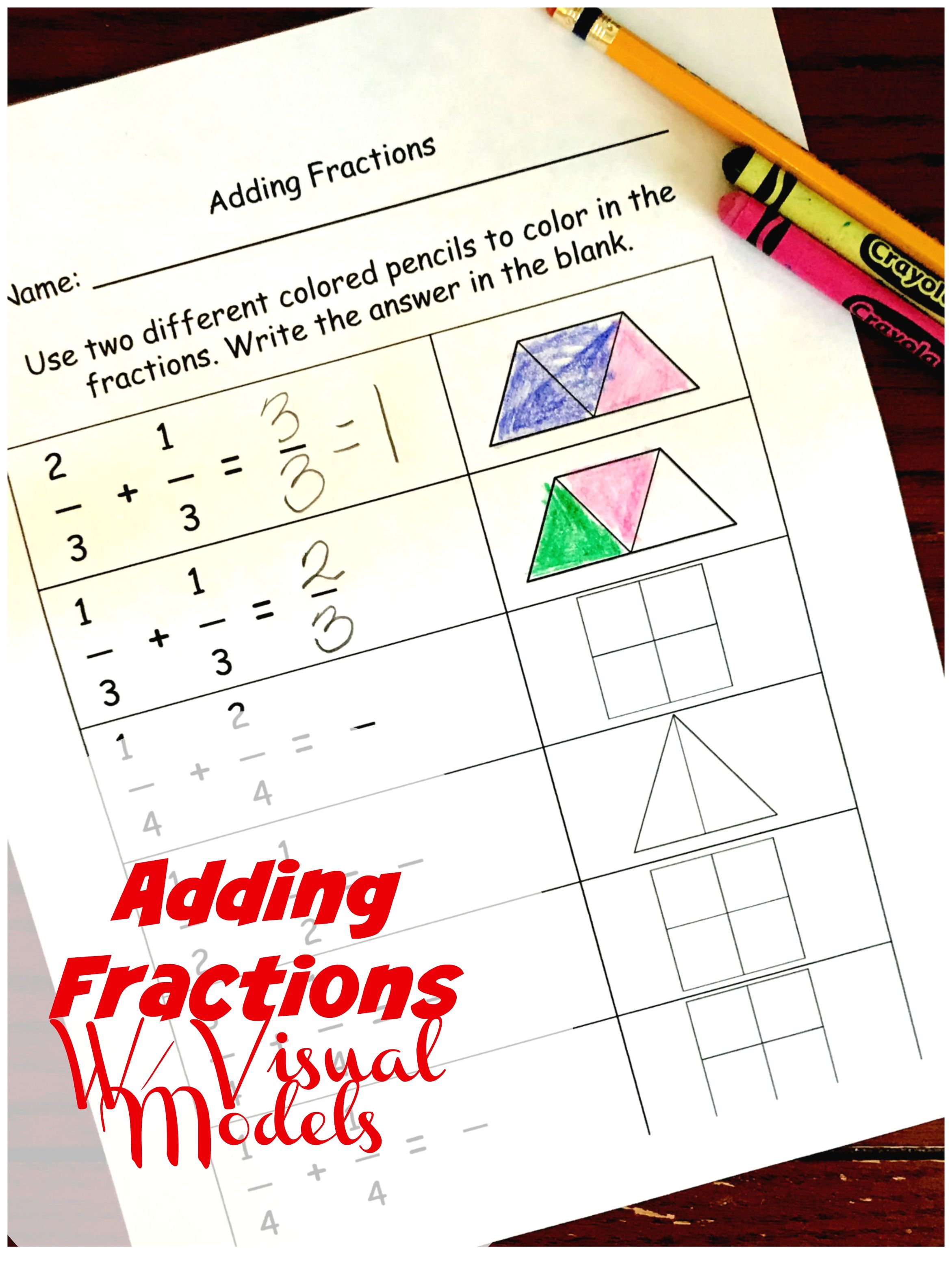 Adding Fractions Using Visual Models Worksheet