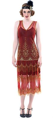 1920s Style Paprika Gold Seven Voyages Beaded Reproduction Fler Dress 298 00
