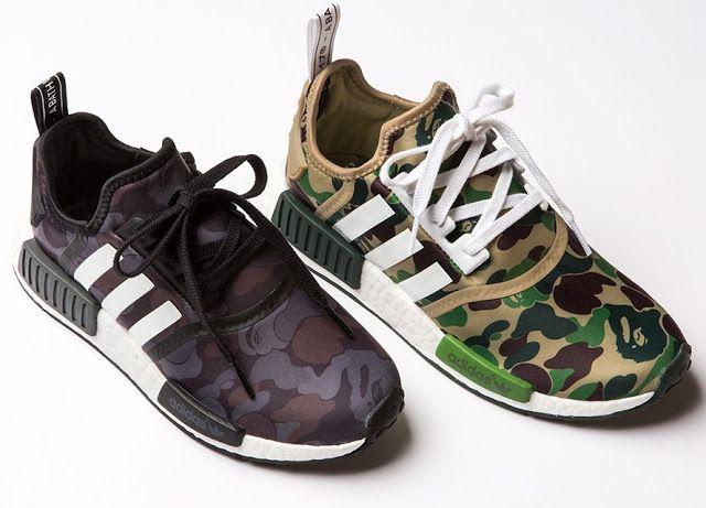 sepatu sneakers a bathing ape x adidas nmd r1 camo