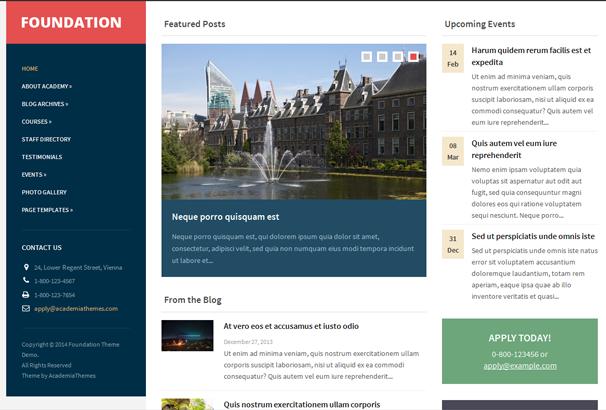 Foundation is a modern WordPress theme with a three-columns ...