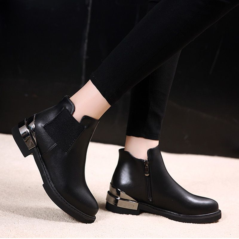 1093243d27bf SFQSHUP New Spring Autumn Winter Fashion Boots Women Warm Shoes Lady Chelsea  Boots Zip Ankle Boots