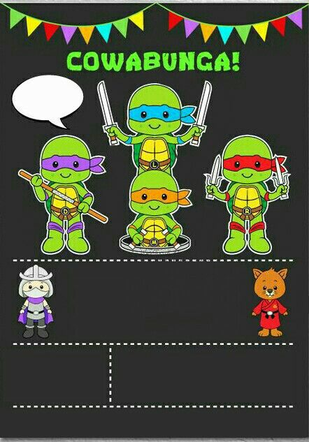 Ninjas Turtles Invitation Andie 8 En 2019 Invitaciones