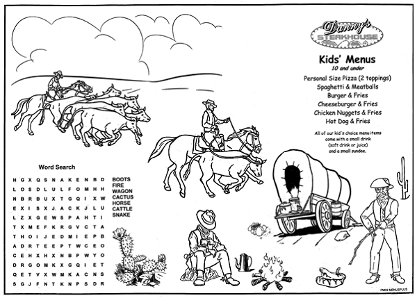 western restaurant kids menu | Steak House Old West ...