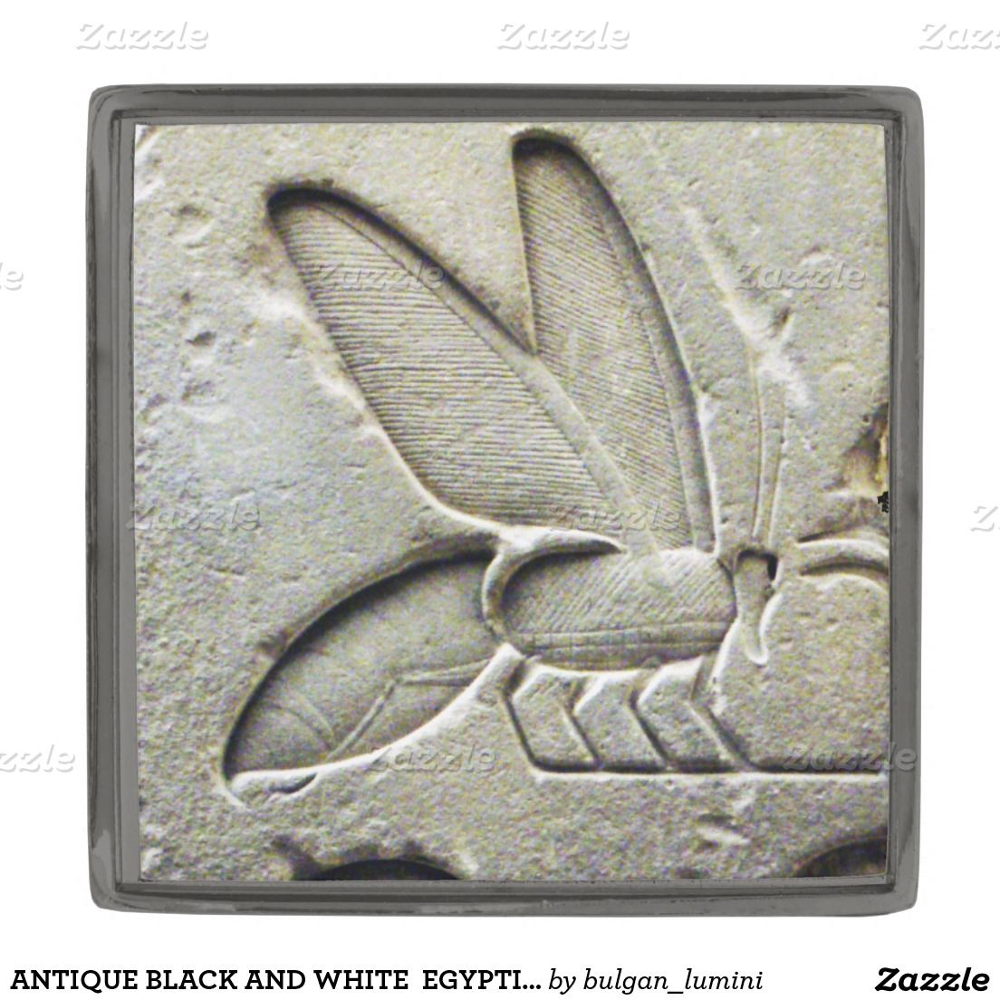 ANTIQUE BLACK AND WHITE  EGYPTIAN HONEY BEE GUNMETAL FINISH LAPEL PIN