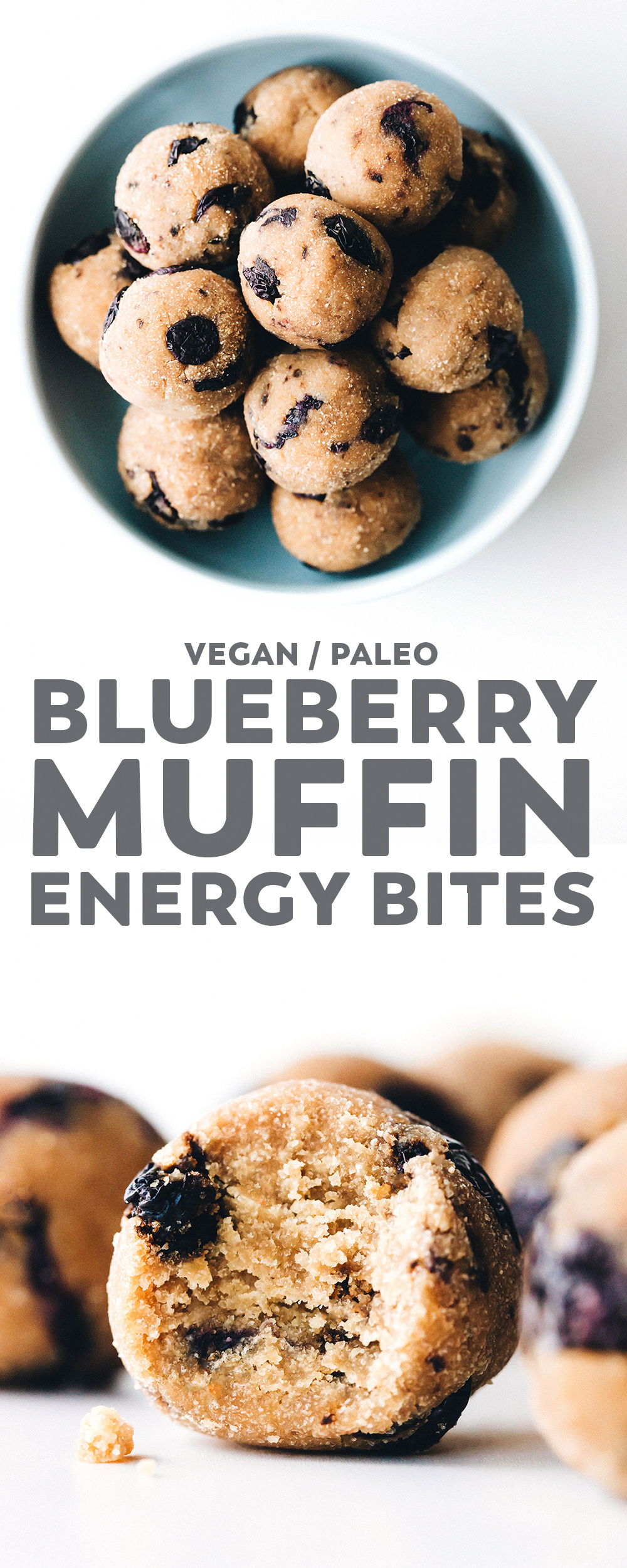 Blueberry Muffin Bites Tasty little balls of blueberry muffin that are unbaked but still fluffy like cake and healthy too. Plus an easy trick for dried blueberries in the oven! via @feastingonfruit