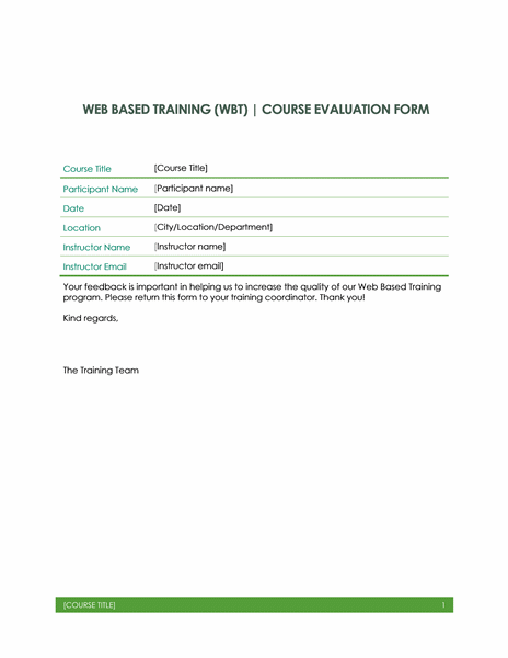 Web Based Training Evaluation Form Is One Tool To Measure Quality