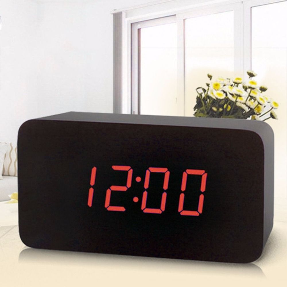 Fashionable Wooden Led Display Clock Electronic Alarm Clock Voice