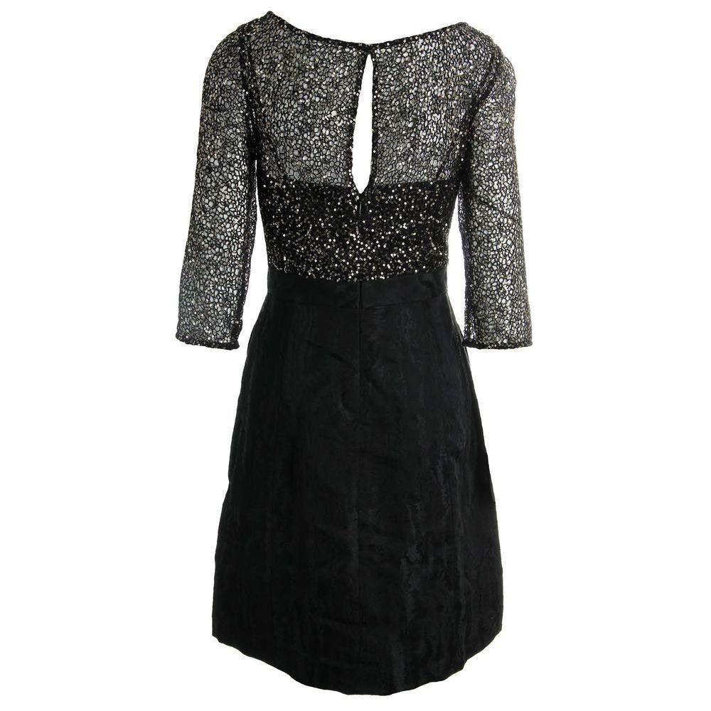 Kay Unger Womens Sequined 3/4 Sleeves Cocktail Dress Black