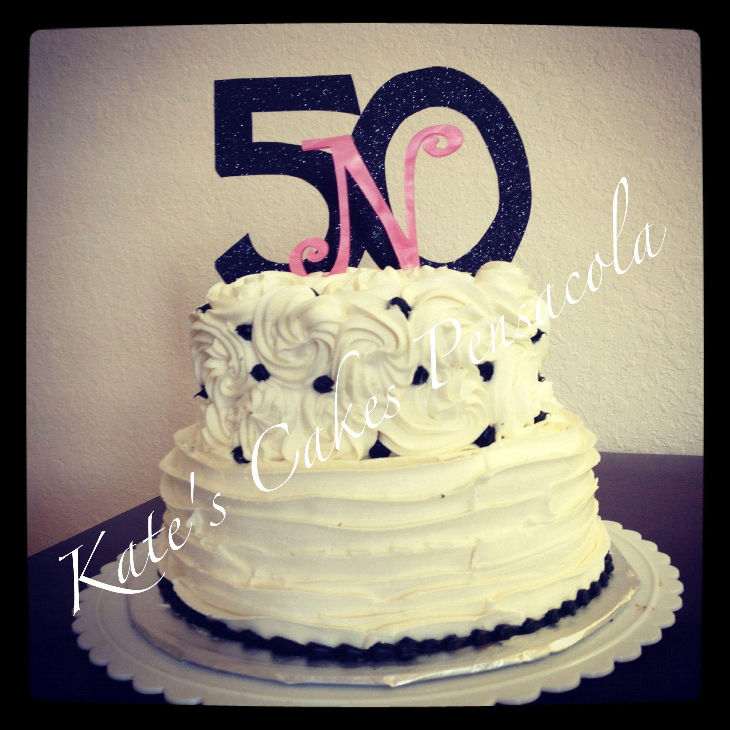 Buttercream 2 Tier 50th Birthday Cakes