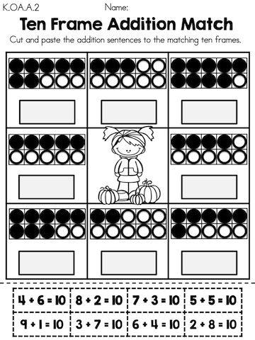 Autumn Kindergarten Math Worksheets Kindergarten math worksheets - ten frame template