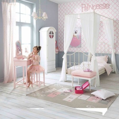 Ivory Metal Four-Poster Bed 90x190 | bebe room | Four poster ...
