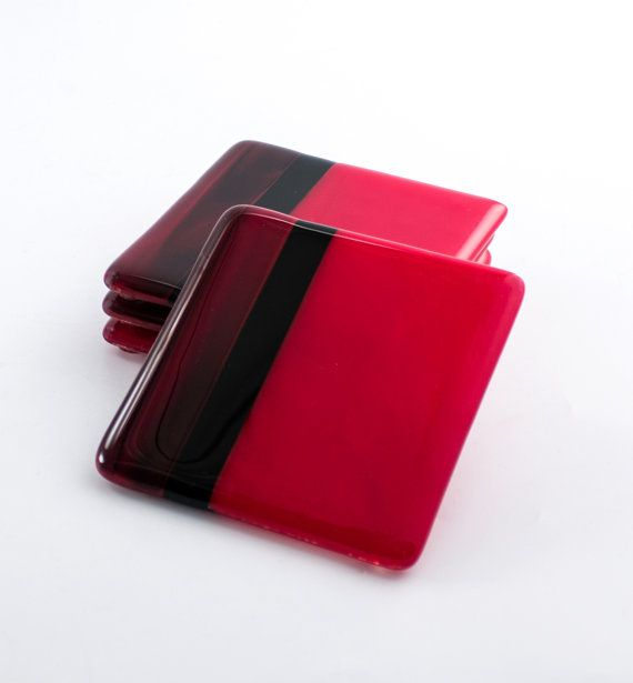Red and black glass drink coasters coffee table decor modern barware fused glass