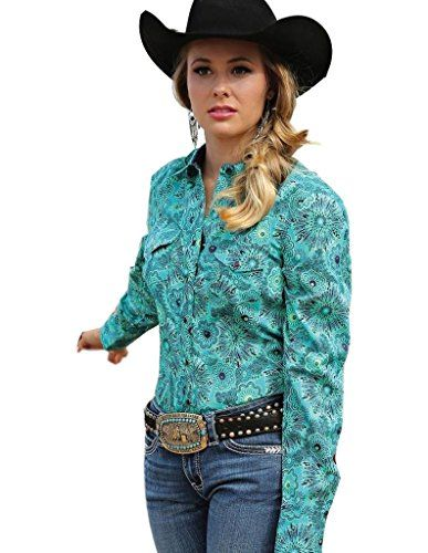 Cruel Girl Western Shirt Womens Long Sleeve Teal Print Sn... https ...