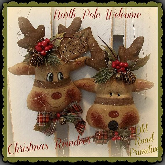 Primitive Reindeer Pattern North Pole Welcome Christmas