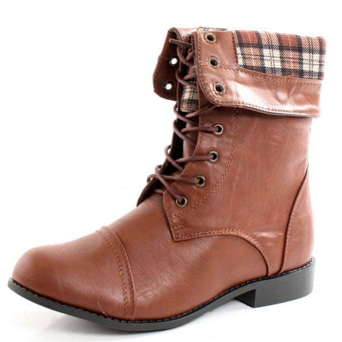a8b9da4f785ae West Blvd Womens LAGOS COMBAT Boots Ankle Lace Up Military Army Fold Over  Shoes ,Brown
