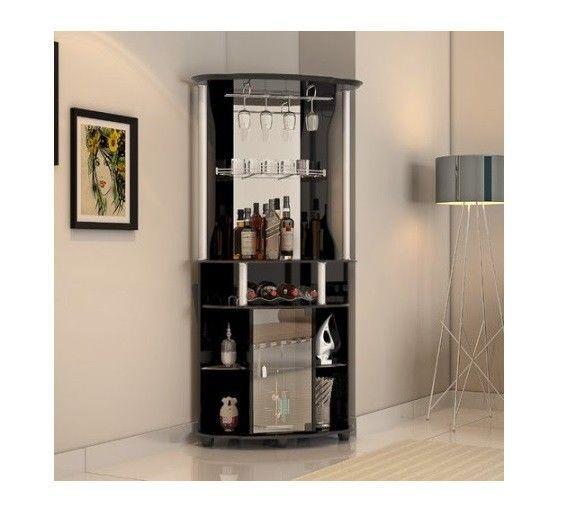Corner Liquor Cabinet Mini Bar Home Wine Storage Rack Pub