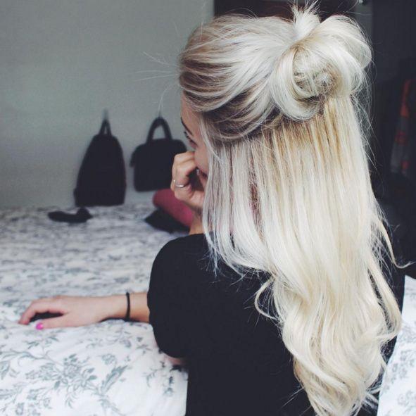 Platinum blonde hair, half up half down bun hairstyle   Ivy Lauren ...